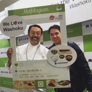 Eu e o Chef Shin Koike no Festival do Japão 2016.